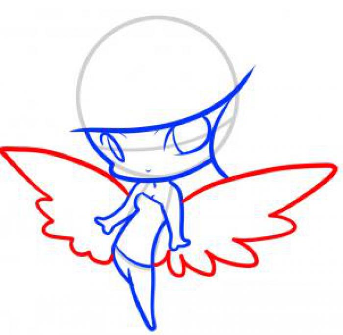 Как нарисовать ангела схема 4, шаг 6