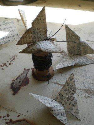 Винтажная бабочка оригами