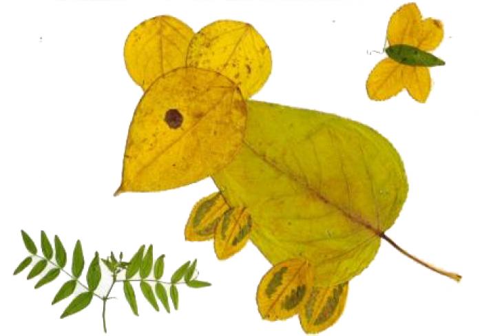 аппликация из осенних листьев, фото 7