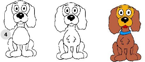 Як намалювати собаку, схема 3, крок 4