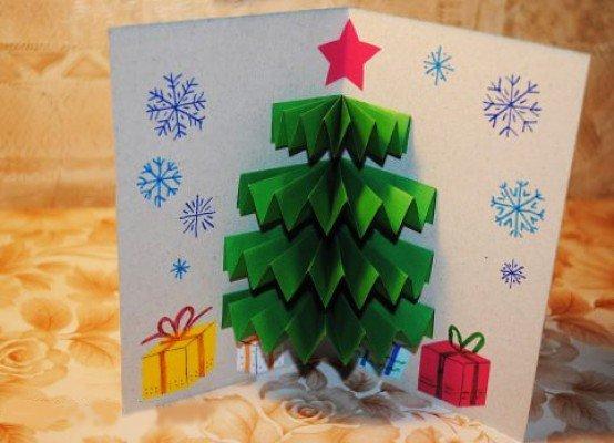 сли новогодняя елка открытка поделка торт