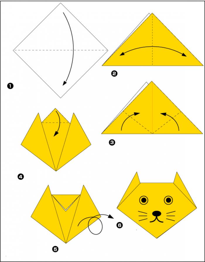 Оригами котик (схема)