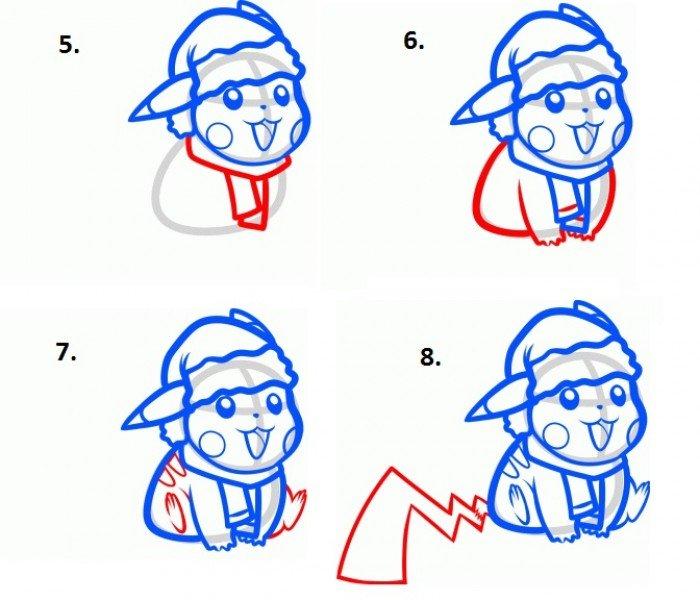 Как нарисовать покемона Пикачу шаг 5,6,7,8