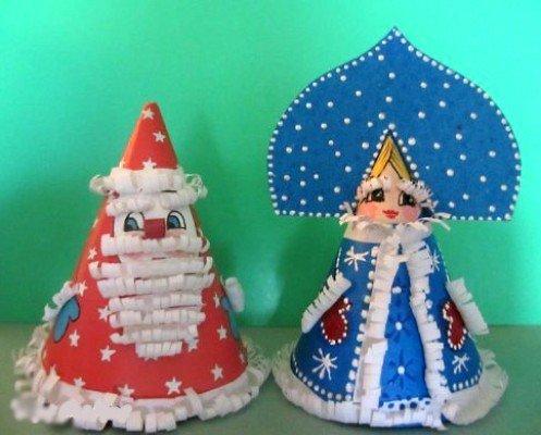 Дед Мороз и Снегурочка из бумаги