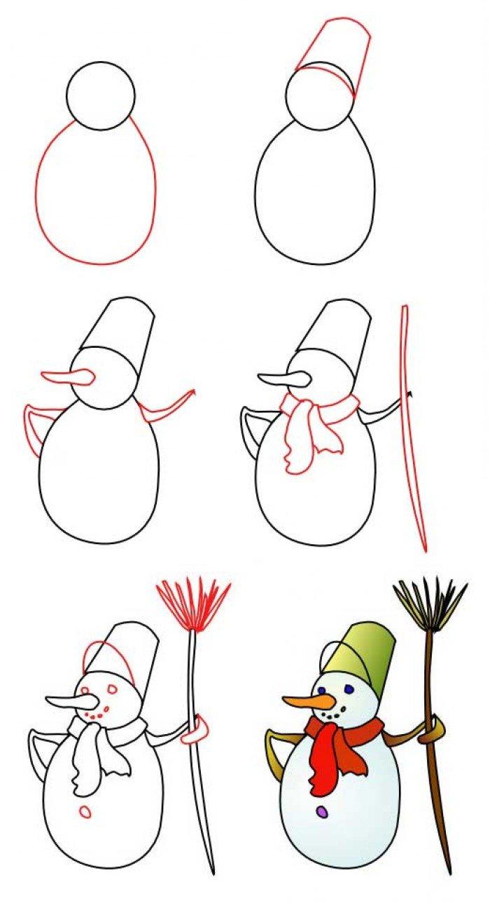 Як намалювати сніговика