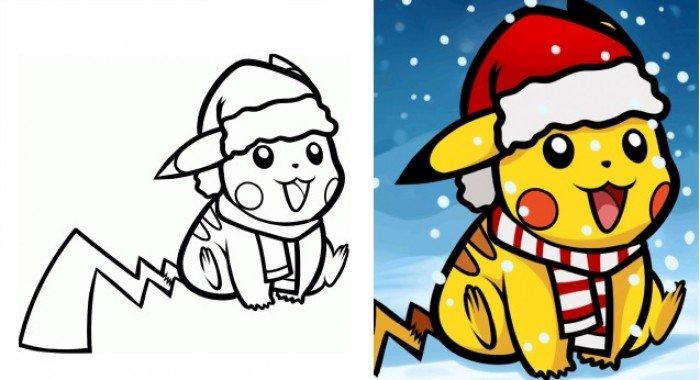 Как нарисовать новогоднего покемона Пикачу