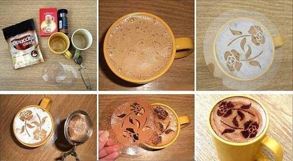 Как рисовать на пенке кофе - роза