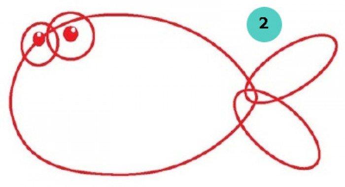 як намалювати рибку крок 1