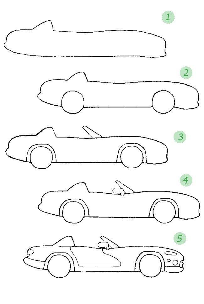 Как нарисовать спортивную машину. Схема 5