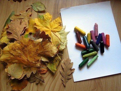 Рисование картин осенними листьями, фото 1