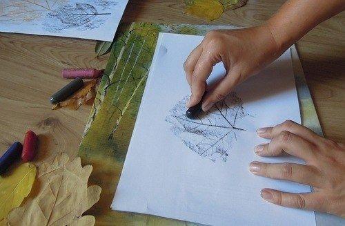 Рисование картин осенними листьями, фото 3