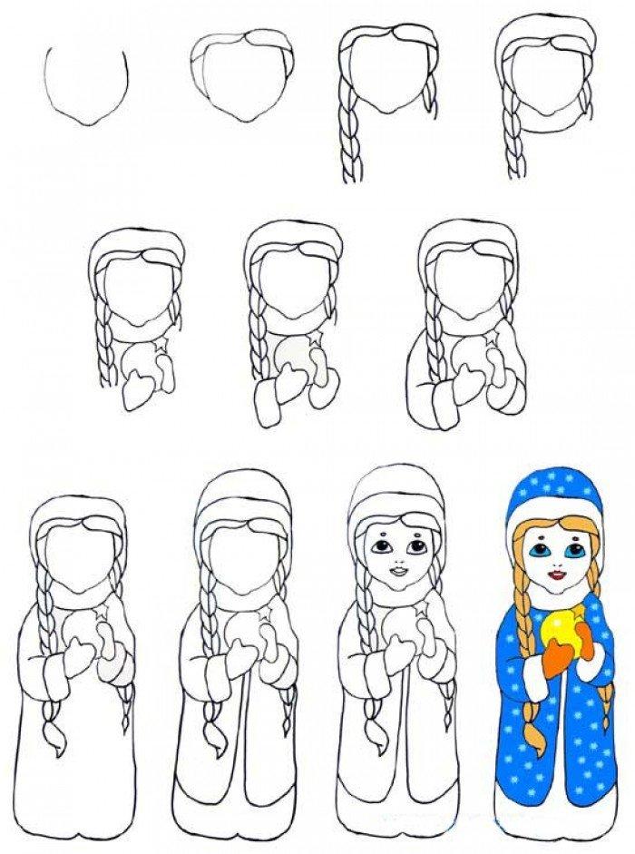 Як намалювати Снігуроньку крок за кроком, фото 3