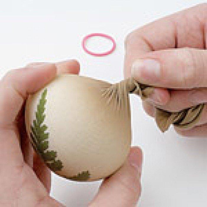 Фарбуємо крашанки з листочками рослин, крок 2