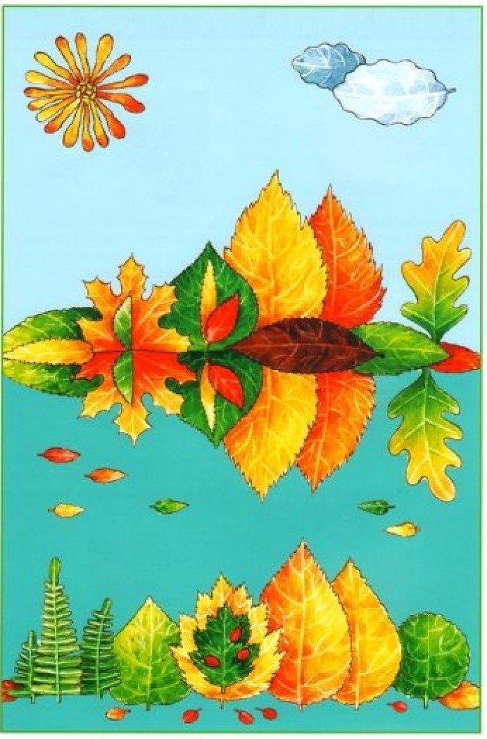 аплікація з осіннього листя, фото 18