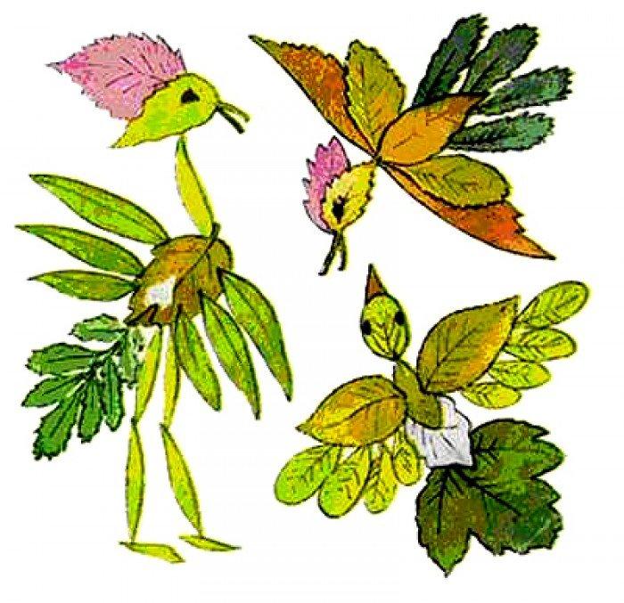 аплікація з осіннього листя, фото 13