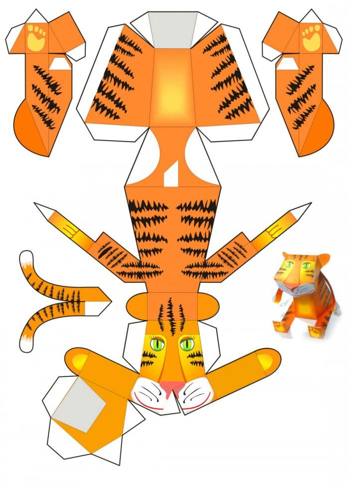 Тигр в технике паперкрафт