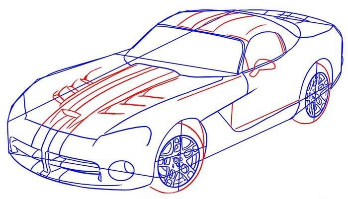 Как поэтапно нарисовать автомобиль Dodge Viper