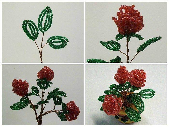 Букет роз из бисера, мастер-класс, фото 5