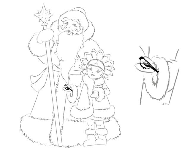 Как нарисовать Снегурочку схема 4