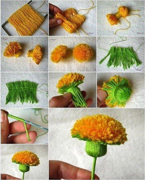Как сделать цветы из ниток своими руками поэтапно