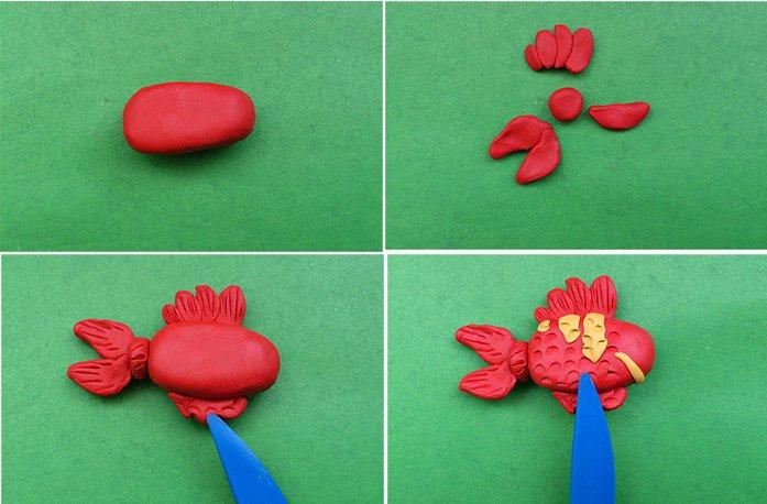 Лепка животных из пластилина - рыбка, фото 2