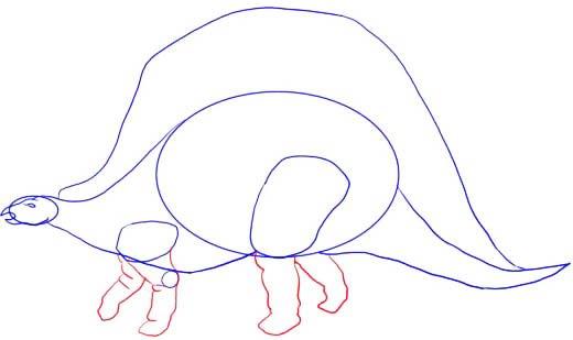 Как нарисовать динозавра Стегозавра, шаг 4