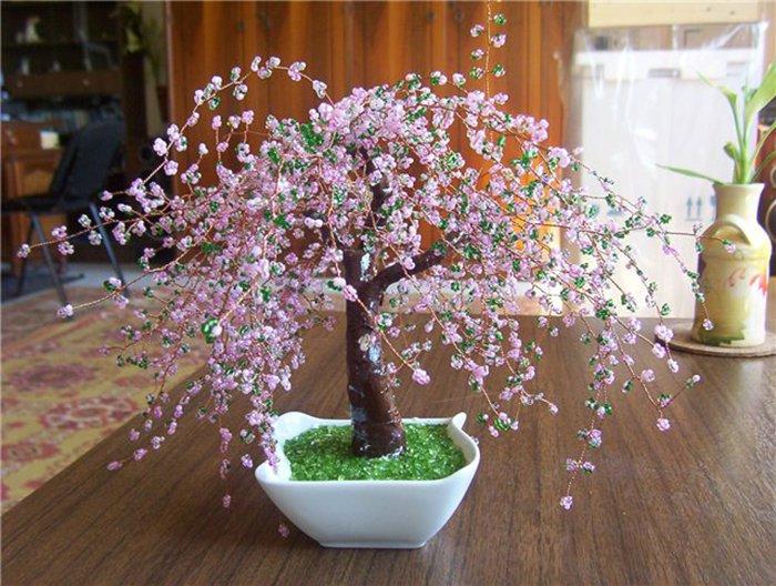 HanDandMadE Как сделать красивое дерево из бисер