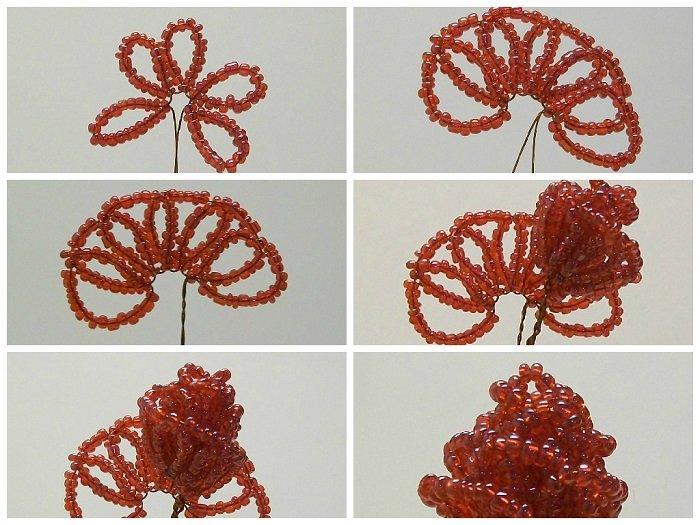 Схема плетения розы из бисера