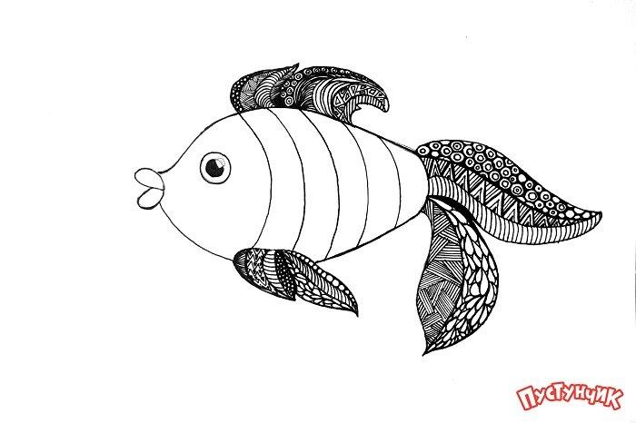 Зентангл тварини - рибка, фото 8