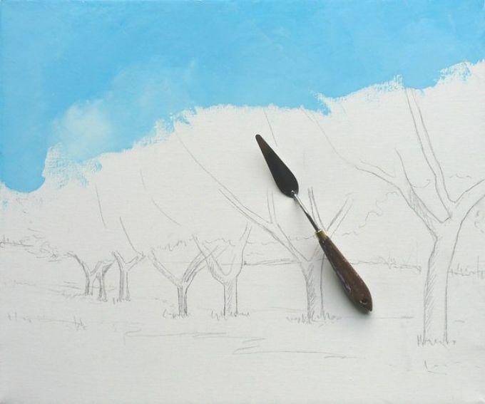 Рисуем весенний пейзаж мастихином, шаг 2