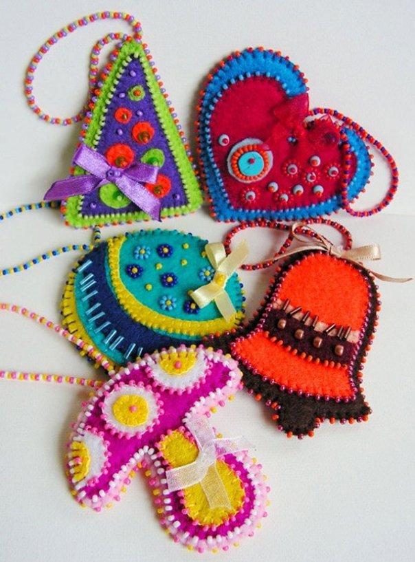 Новогодние игрушки из фетра, фото 17