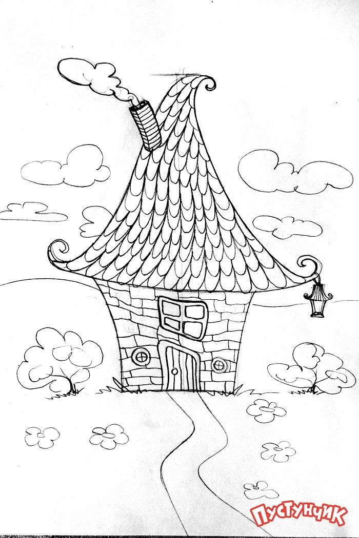 Как нарисовать сказочный дом - фото 5