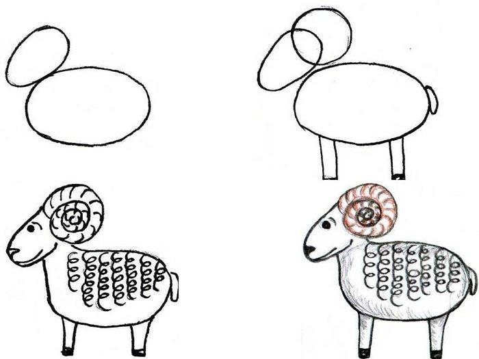Как красиво нарисовать барашка схема 4
