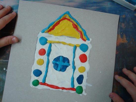 Ліплення з пластиліну в дитячому садку - будиночок, фото 6