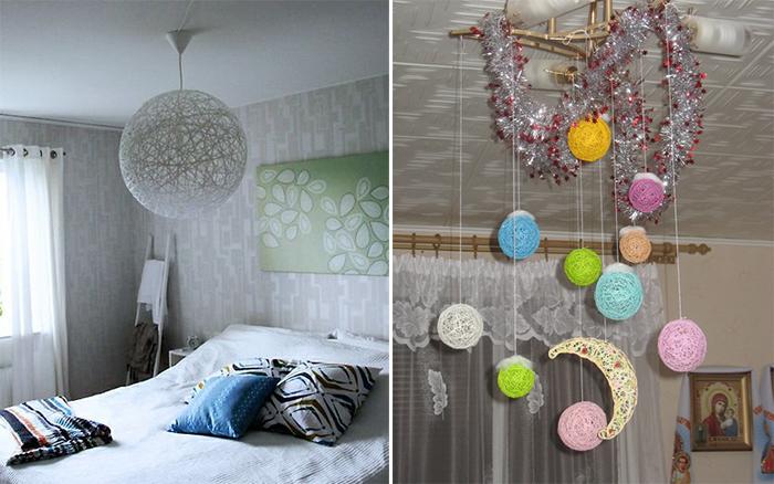 Светильники из ниток в домашнем интерьере