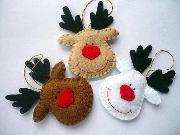 Новогодние игрушки из фетра, фото 25
