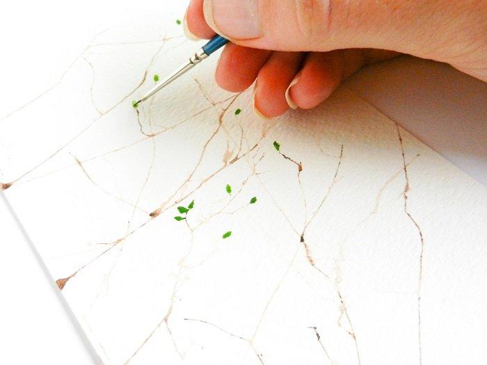 Как рисовать птицу на ветке акварелью шаг 3