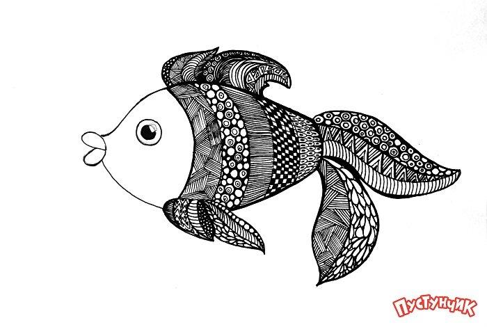 Зентангл животные - рыбка, фото 9