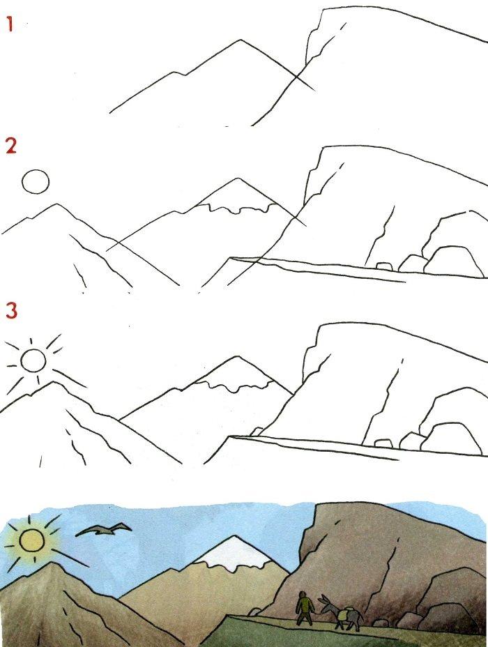 Як намалювати гори схема №1