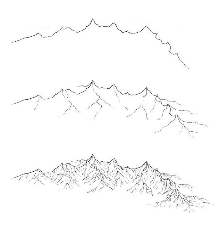 Рисуем горы карандашом схема №3