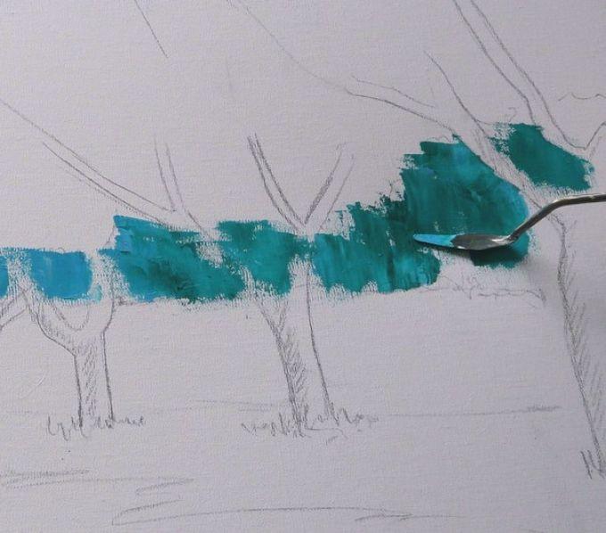 Рисуем весенний пейзаж мастихином, шаг 3