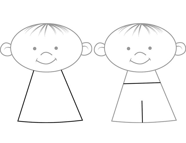 Як намалювати дітей - тіло, схема 3