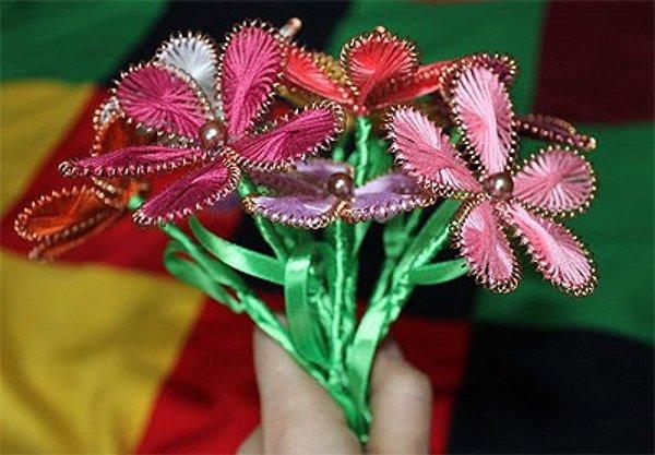 Квіти з ниток і дроту. Майстер-клас, фото 8