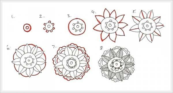 Орнамент цветы шаг 3