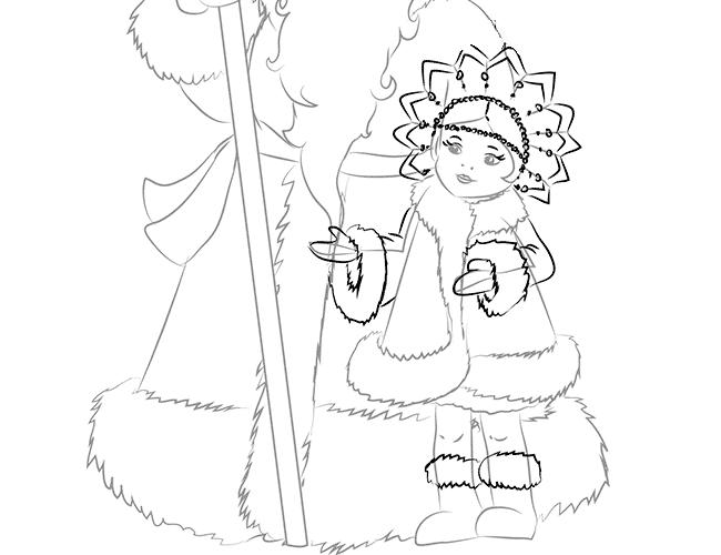 Як намалювати Снігуроньку схема 3