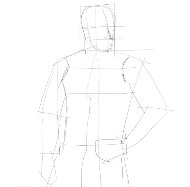 Как нарисовать парня, шаг 2