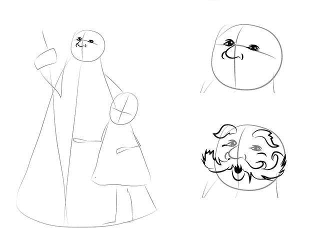 Як намалювати Діда Мороза схема 2