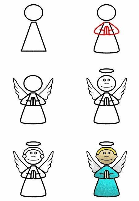 Как нарисовать ангела, схема 3
