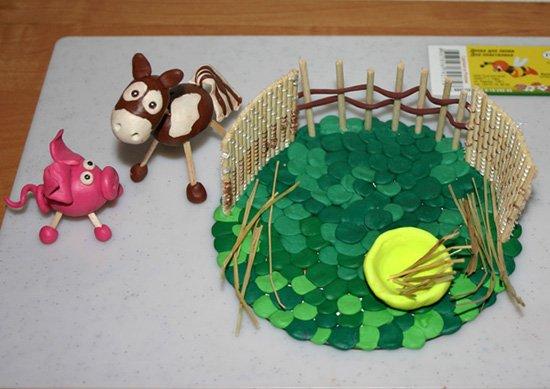 Ліплення з пластиліну в дитячому садку - парканчик, фото 14