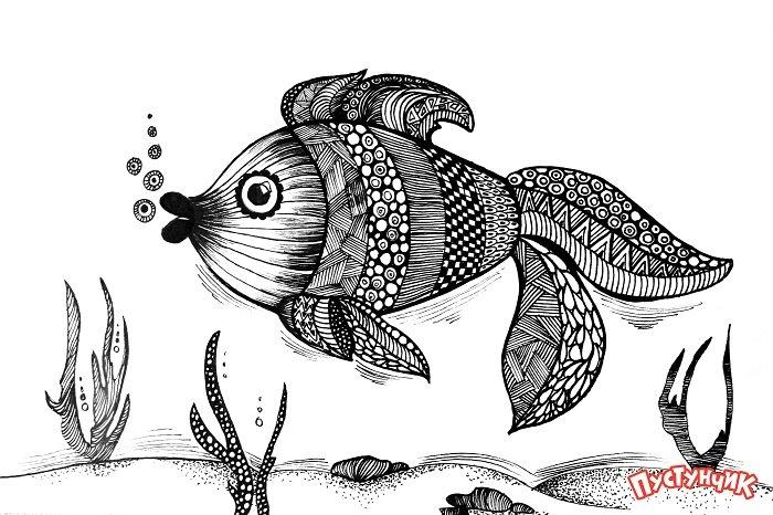 Зентангл тварини - рибка, фото 13